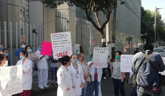 Personal del ISSSTE en la Ciudad de México protesta y denuncia contagios